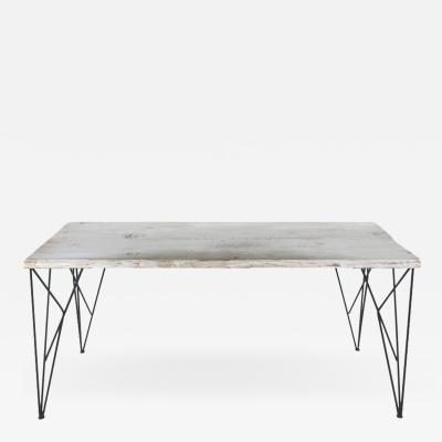 Rustic Whitewashed Console Work Table with Iron Legs