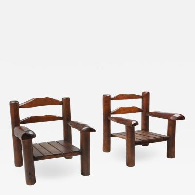 Rustic Wooden Wabi Sabi Lounge Chairs 1950s