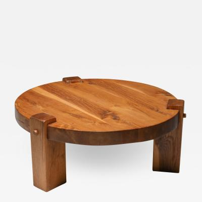 Rustic modern coffee table in solid oak 1960s