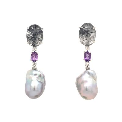 Rutilated Quartz With Diamond Amethystes and Baroque South Sea Pearl Earrings