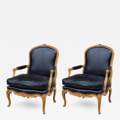 S 37 Pair of Beechwood Louis XV Armchairs
