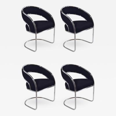 S 4 Mid Century Modern Upholstered Chrome Sling Back Chairs
