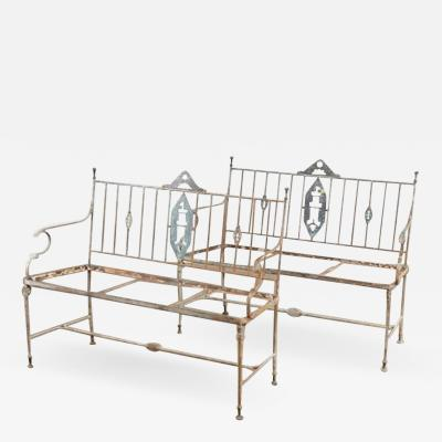 S 69 pair of iron neoclassical garden benches