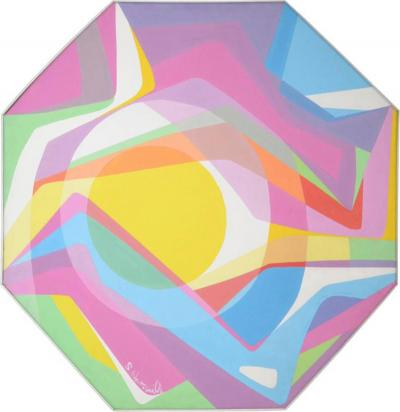 S Martina Williams Octagonal Abstract Oil on Canvas 1970s