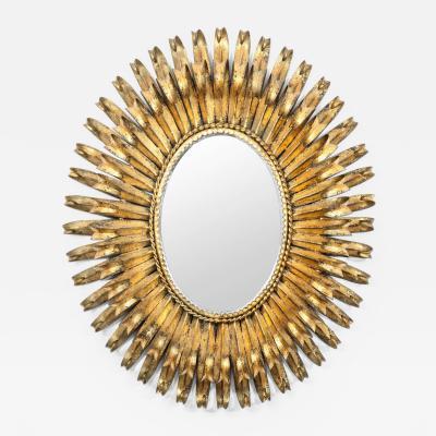 S Salvadori Italian Gilt Metal Oval Mirror Attributed To S Salvadori