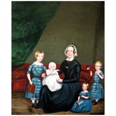 S V D Schans Folk Art Oil on Canvas Circa 1830 Attributed to S V D Schans Unsigned