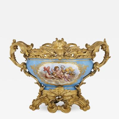 S vres style porcelain and gilt bronze centrepiece bowl