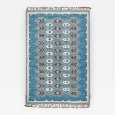 SCANDINAVIAN MODERN FLAT WEAVE RUG IN BLUE AND HEATHER GRAY