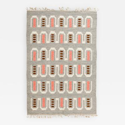 SCANDINAVIAN MODERN FLAT WEAVE RUG IN CORAL AND HEATHER GRAY