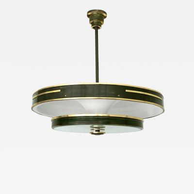 SCANDINAVIAN MODERN PATINATED BRASS DOUBLE SHADE PENDANT
