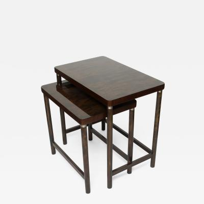 SCANDINAVIAN MODERN SET OF 2 NESTING TABLES IN STAINED BIRCH AND MAHOGANY