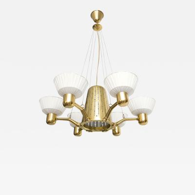 SCANDINAVIAN SIX ARM BRASS CHANDELIER WITH FABRIC SHADES