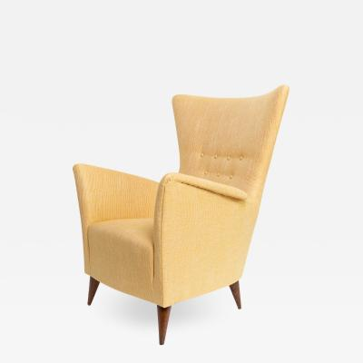 SCANDINAVIAN UPHOLSTERED Wing back LOUNGE CHIAR IN GOLD FABRIC