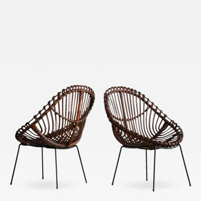 SCULPTURAL ITALIAN RATTAN CHAIRS