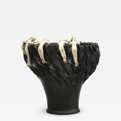 SCULPTURAL ONE OF A KIND VASE MADE FROM STONEWARE