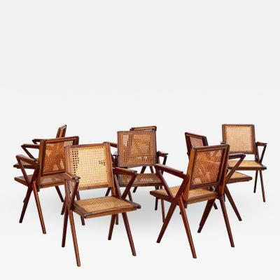 SET OF 8 FRENCH TEAK AND CANED DINING CHAIRS