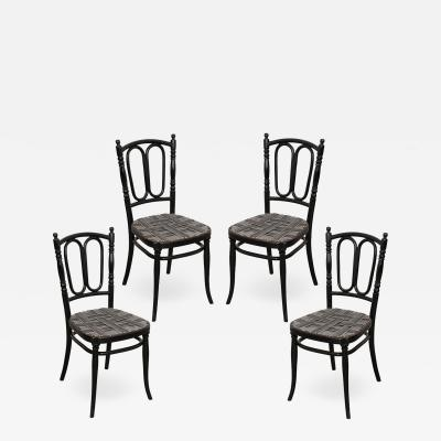 SET OF FOUR EBONY THONET BENTWOOD SIDE CHAIRS