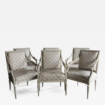 SET OF SIX 18TH CENTURY PAINTED FAUTEUILS