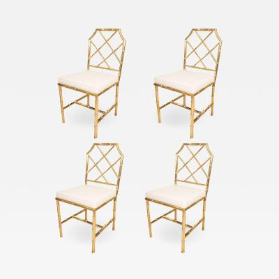 SET OF SIX BRASS FAUX BAMBOO CHAIRS