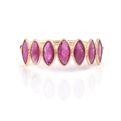 SEVEN RUBY MARQUISE SHAPE RING BAND 18K YELLOW GOLD