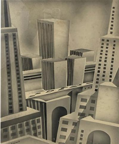 SIGNED ART DECO FUTURIST CITY BLACK AND WHITE WATERCOLOR