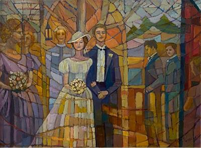 SIGNED MODERN STAINED GLASS STYLE WEDDING PAINTING