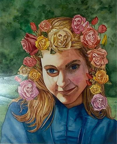 SIGNED SURREALIST ROSE WOMAN PORTRAIT WATERCOLOR