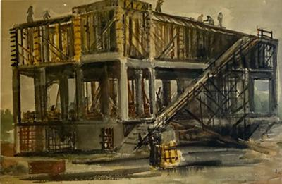 SIGNED WPA ERA INDUSTRIAL WATERCOLOR