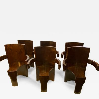 SIX MODERNIST BURLWOOD ART DECO REVIVAL DINING CHAIRS