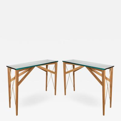 SLENDER WOOD AND BRASS CONSOLE TABLES WITH GLASS TOPS