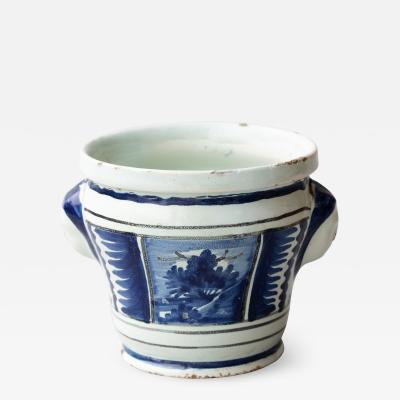 SMALL 18TH CENTURY BLUE AND WHITE FAIENCE CACHE POT