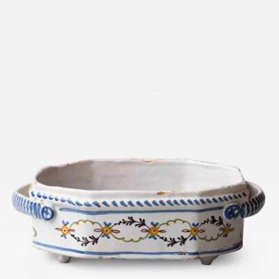 SMALL POLYCHROME FAIENCE TWO HANDLED BASSIN OR JARDINIERE