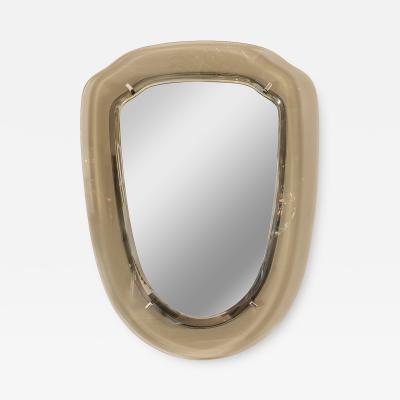 SMOKY BEVELED GLASS FRAMED SHIELD FORM MIRROR