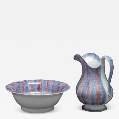 SPATTERWARE PITCHER AND WASH BASIN