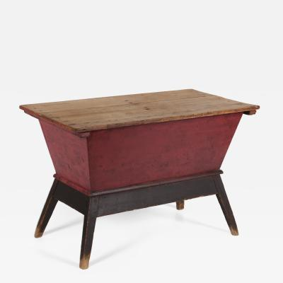 SPLAY LEG COUNTRY HEPPLEWHITE DOUGH TABLE IN SALMON RED AND BLACK PAINT