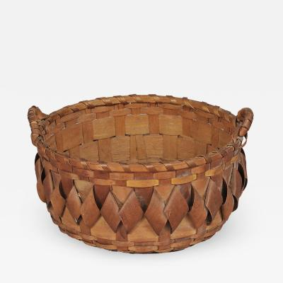 SPLINT WOVEN BASKET WITH HANDLES