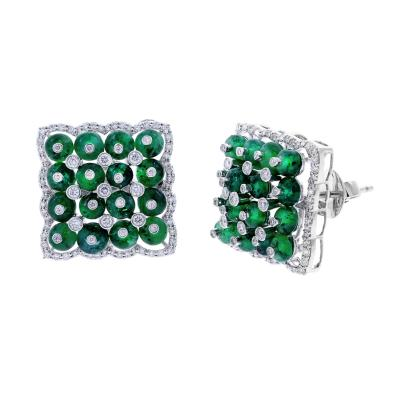 SQUARE EMERALD EARRINGS WITH DIAMONDS 18K WHITE GOLD