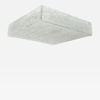 SQUARE MOLDED GLASS FLUSH MOUNT CEILING FIXTURE