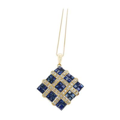 SQUARE MYSTERY SET SAPPHIRE PENDANT NECKLACE WITH DIAMONDS 18K YELLOW GOLD