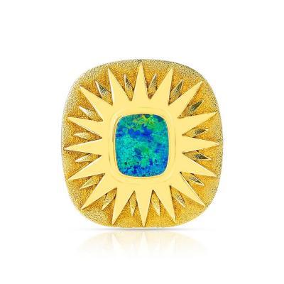 SQUARE OPAL STAR BROOCH PIN 18 KARAT YELLOW GOLD