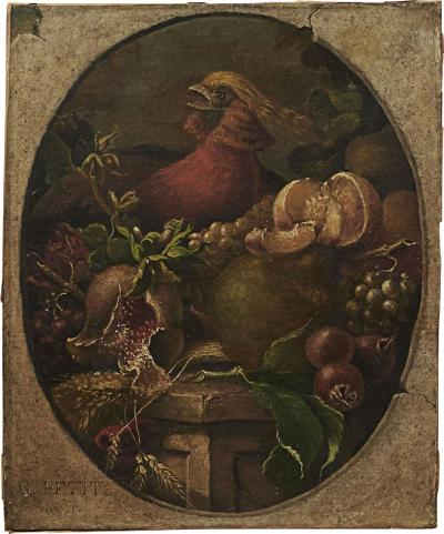 STILL LIFE OIL PAINTING OF FRUIT AND GOLDEN PHEASANT G PETIT 1866