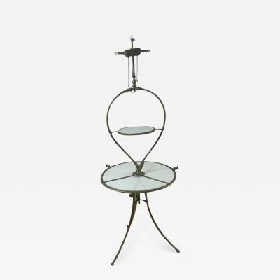 STRIKING ITALIAN GLASS AND BRONZE TABLE FLOOR LAMP