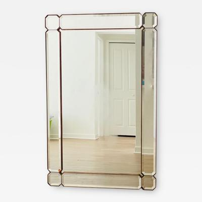 STUNNING MODERN FACETED AND BEVELED GEMSTONE CUT MIRROR