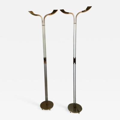 STUNNING MODERNIST ITALIAN PAIR OF BRASS AND LUCITE FLOOR LAMPS