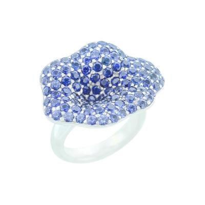 STYLISH FLORAL BLUE SAPPHIRE RING PART OF JEWELRY SET