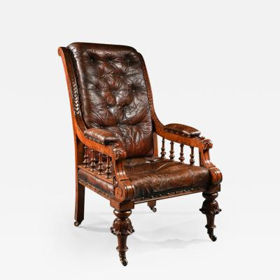 SUBSTANTIAL 19TH CENTURY OAK AND MOROCCAN LEATHER ARMCHAIR
