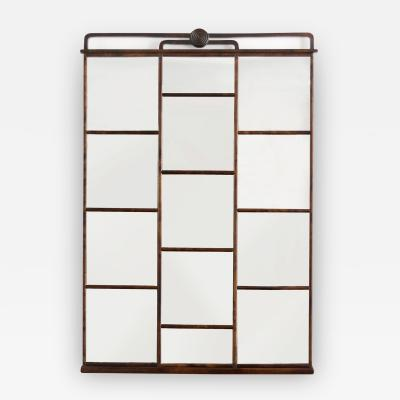 SWEDISH ART DECO STAINED BIRCH PANELED MIRROR