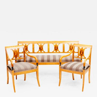 SWEDISH EMPIRE SET PAIR OF ARMCHAIRS AND A BENCH BIRCH WITH INLAYS
