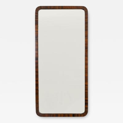 SWEDISH MODERNIST MIRROR WITH ROUNDED CORNERS PAINTED FAUX MACASSAR