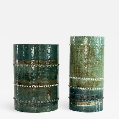 SYLVIA LEUCHOVIOUS TWO SYLVIA LEUCHOVIOUS GREEN GLAZED VASES RORSTRAND SWEDEN